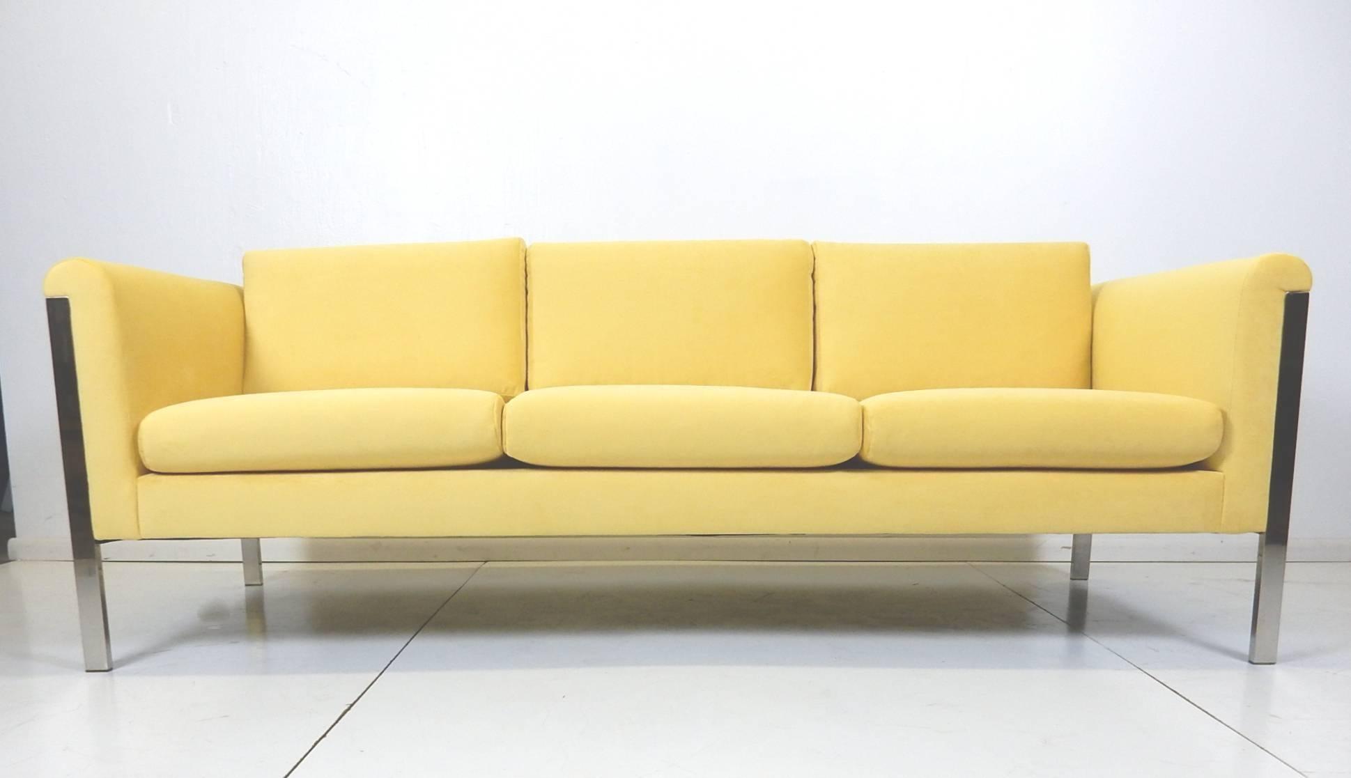 Mid Century Modern California Designer George Kasparian Yellow Velvet And  Chrome Lounge Sofa For Sale