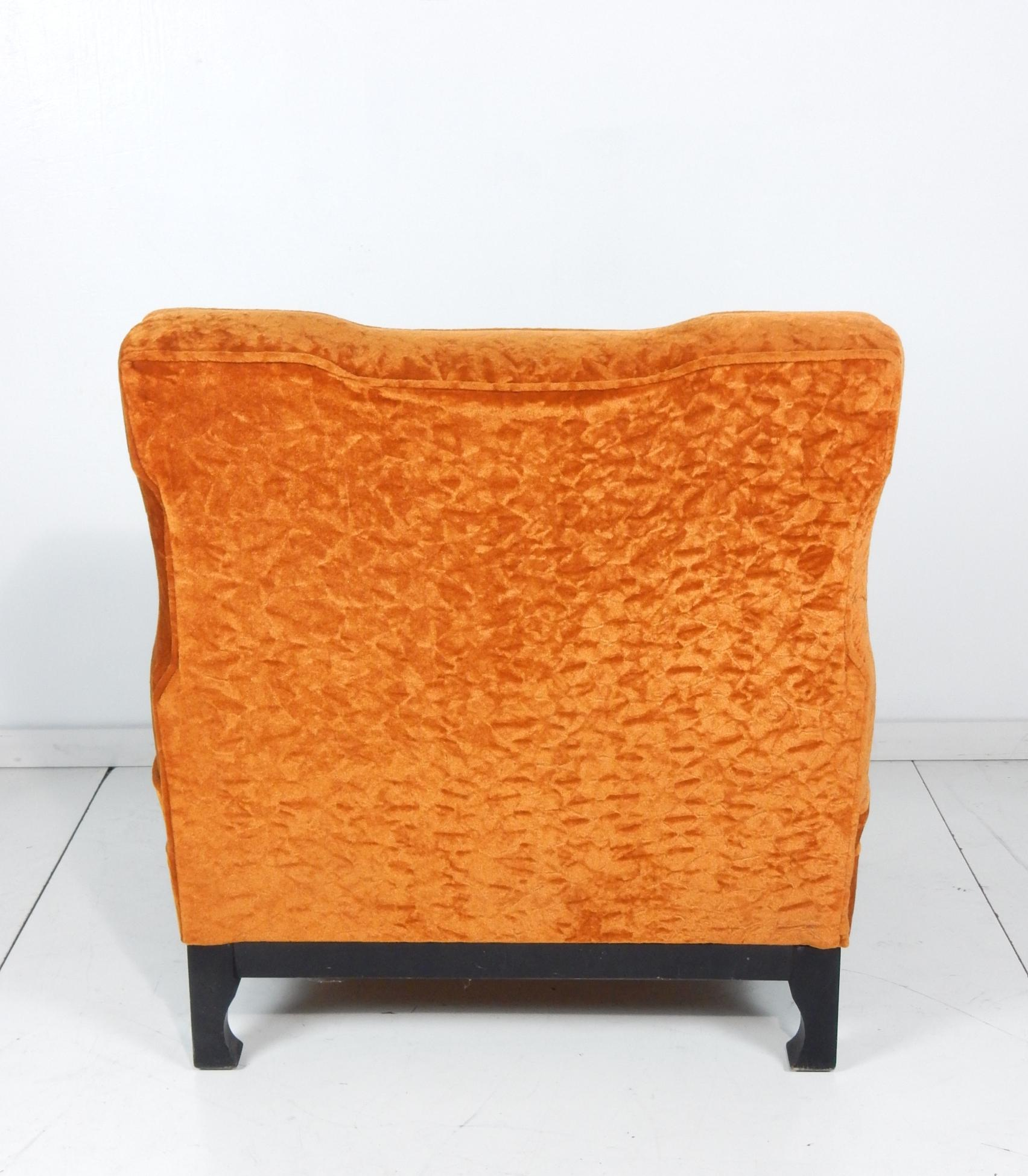 Art Deco Era Orange Velvet Slipper Chairs In Good Condition For Sale In Las  Vegas,