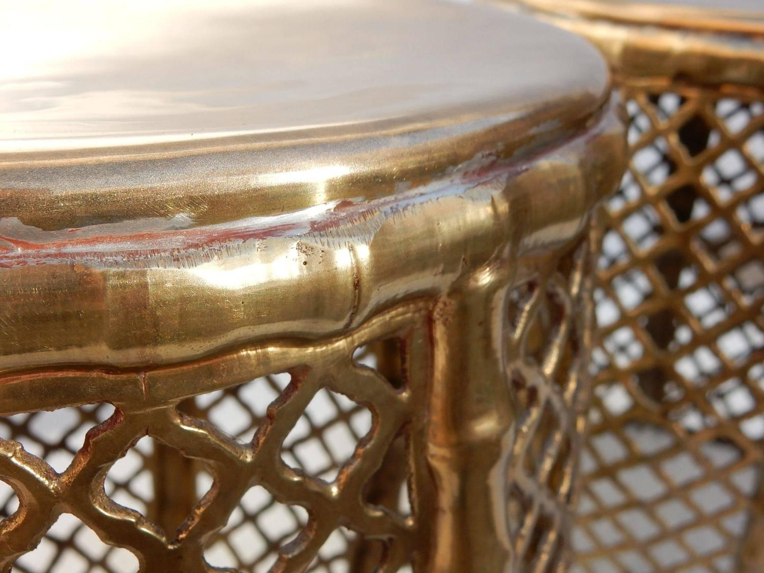 Hollywood Regency Pierced Brass Faux Bamboo Drum Stools