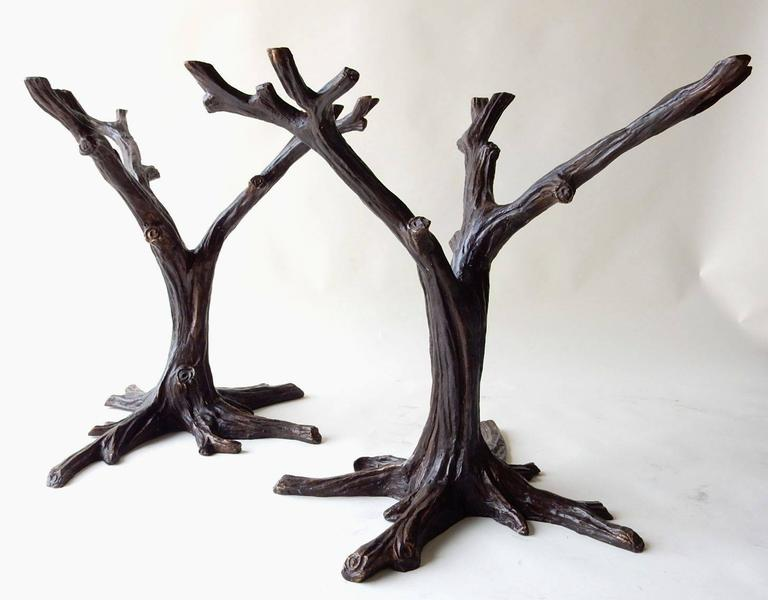 Awesome French Cast Bronze Tree Sculpture Dining Table Base Signed J. A. Mercie A  Stunning Organic Design Element