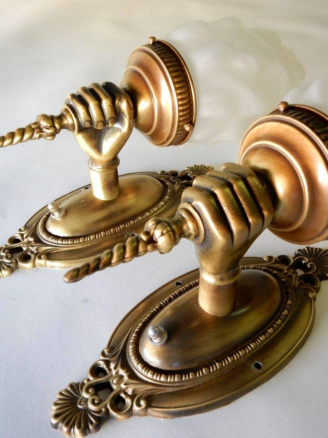 Wall Sconces Antique Brass : Pair Antique Brass Hand Torch Wall Sconce Lamps at 1stdibs