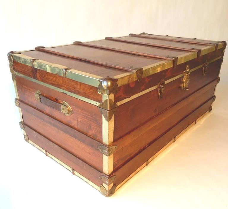 Mid Century Industrial Wood Steamer Trunk Coffee And End Table Set 1960s At 1stdibs