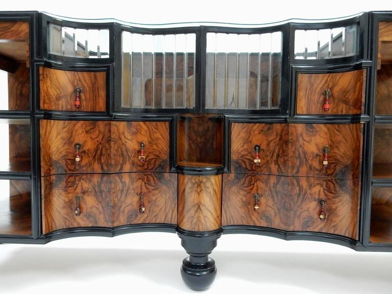 1920s 1930s Art Deco Burl Wood Dry Bar Sideboard Cabinet