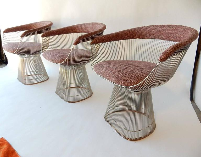 Mid-Century Modern Warren Platner for Knoll Chrome Dining Chairs For Sale 3