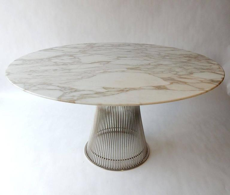 Mid Century Modern Warren Platner For Knoll Dining Table With Carrera Marble Top