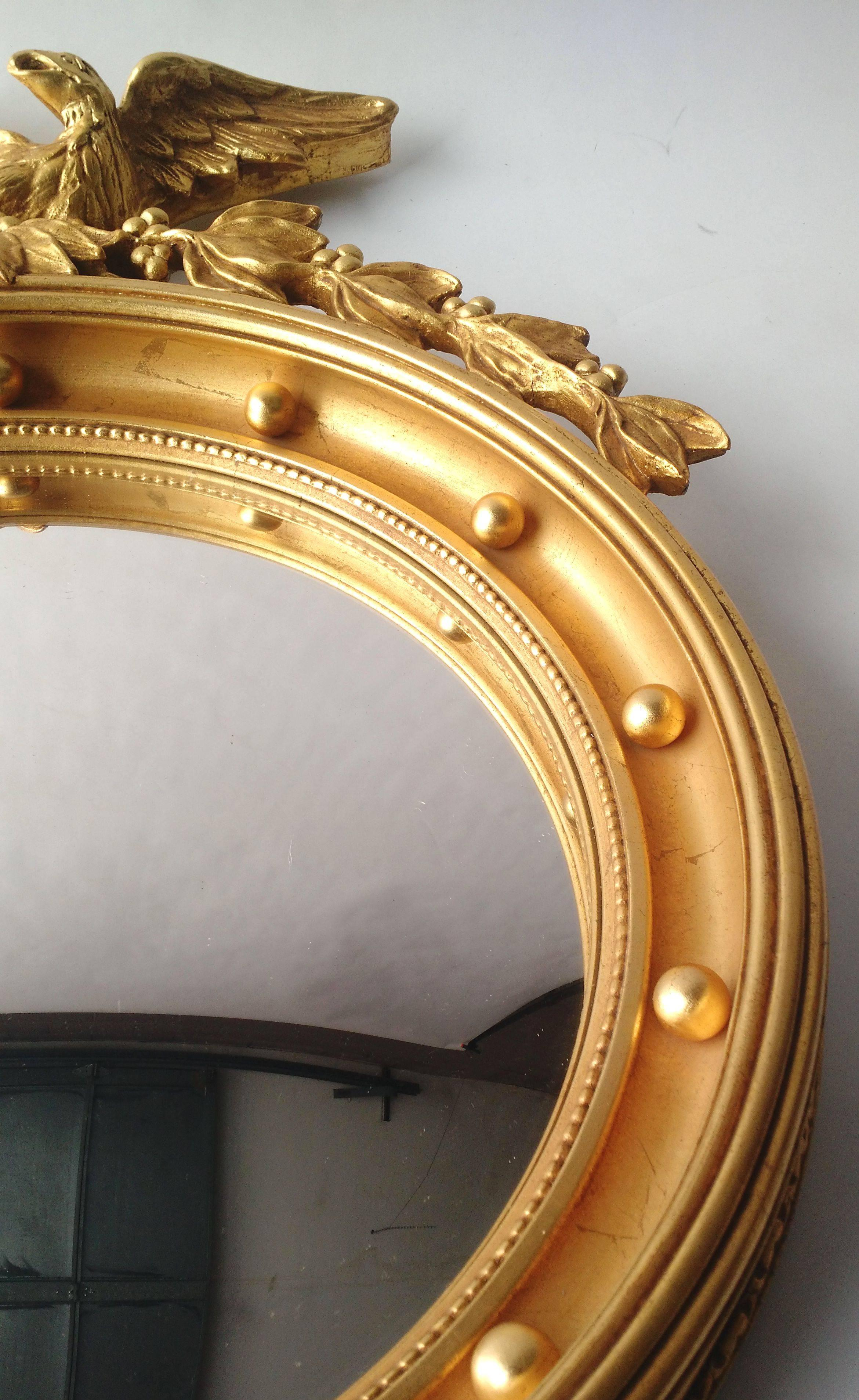 Mid-20th Century Regency Gold Gilded Federal Eagle Convex Wall ...