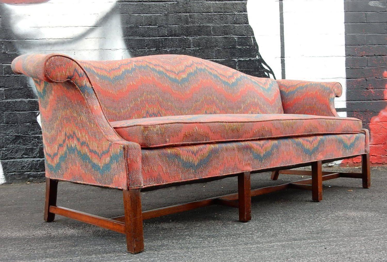 Regency Chippendale Camelback Sofa In Missoni Inspired