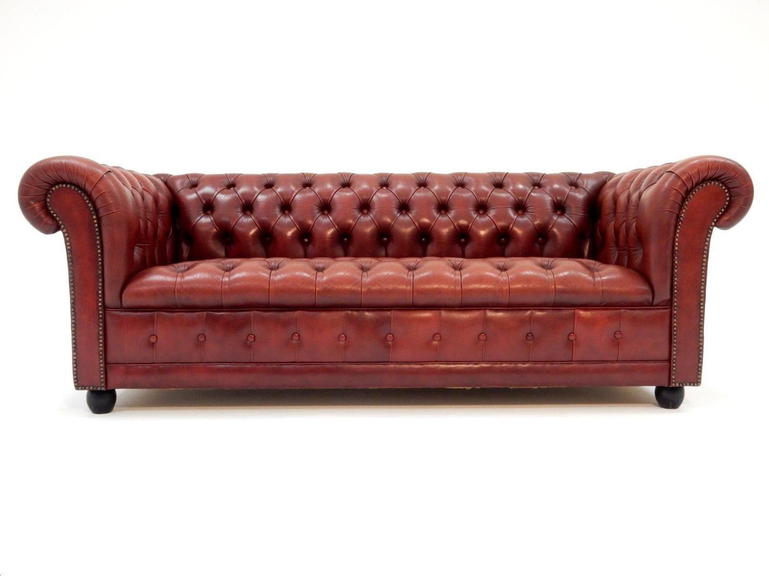 Fabulous Tufted Oxblood Leather British Chesterfield Sofa