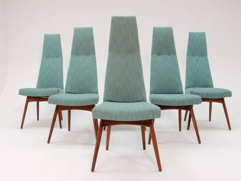 A set of six high back dining chairs designed by Adrian Pearsall for Craft Associates.