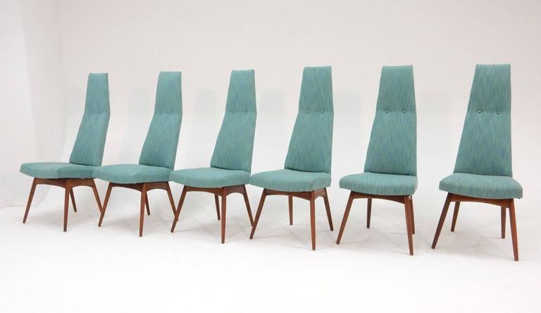 Mid-Century Modern Adrian Pearsall Tall Back Dining Chairs Set of Six In Excellent Condition For Sale In Las Vegas, NV