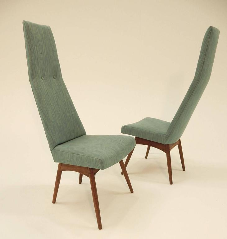 20th Century Mid-Century Modern Adrian Pearsall Tall Back Dining Chairs Set of Six For Sale