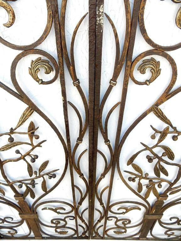 Incredible, early 1900s French artistic iron garden gate with bronze fleur-de-lis, berry bush and florets.
