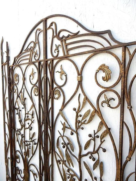 French Art Nouveau Architectural Iron and Bronze Gate in manner of Edgar Brandt In Good Condition For Sale In Las Vegas, NV