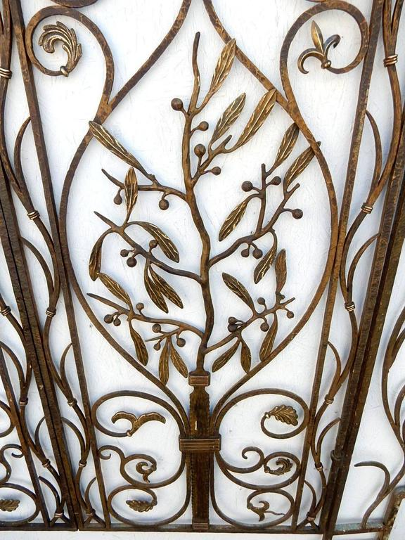 Early 20th Century French Art Nouveau Architectural Iron and Bronze Gate in manner of Edgar Brandt For Sale