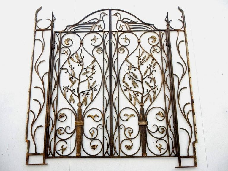 French Art Nouveau Architectural Iron and Bronze Gate in manner of Edgar Brandt For Sale 3