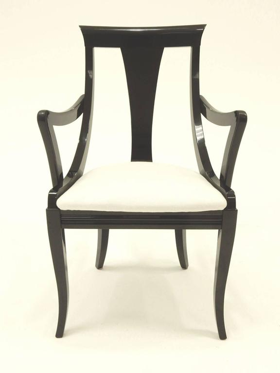 Sculptural Black Lacquer Dining Chairs By Pietro Costantini Made In Italy 3