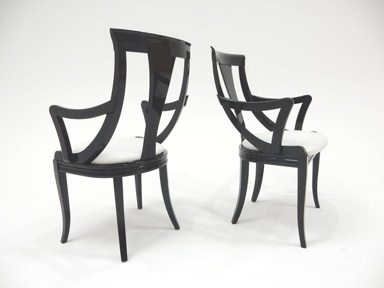 Sculptural Black Lacquer Dining Chairs by Pietro Costantini, Made in Italy In Good Condition For Sale In Las Vegas, NV
