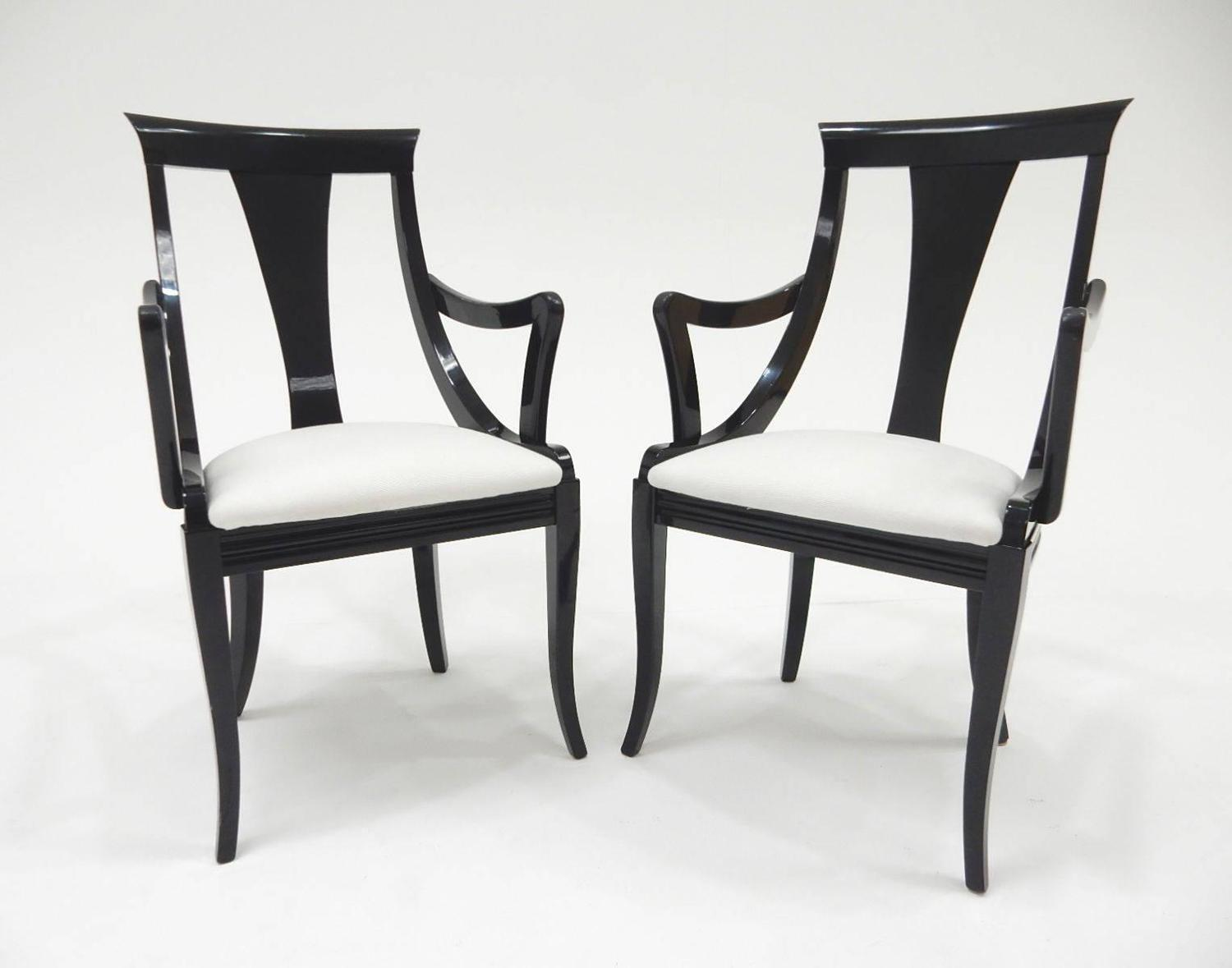 Sculptural Black Lacquer Dining Chairs By Pietro