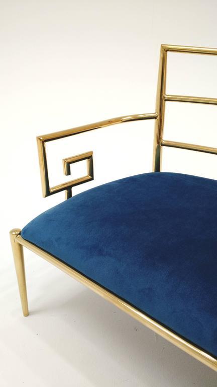 Hollywood Regency Brass Greek Key and Blue Velvet Settee Sofa In Excellent Condition In Las Vegas, NV