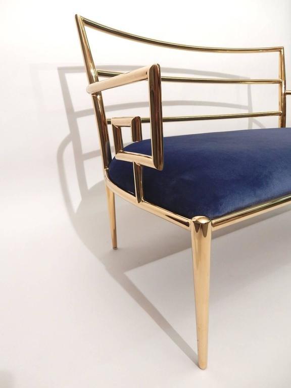 Late 20th Century Hollywood Regency Brass Greek Key and Blue Velvet Settee Sofa