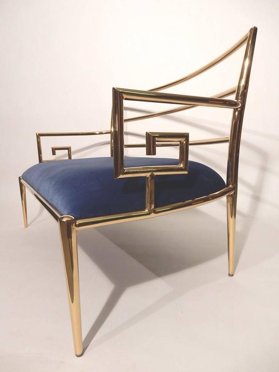 Hollywood Regency Brass Greek Key and Blue Velvet Settee Sofa 1