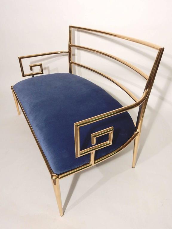 Hollywood Regency Brass Greek Key and Blue Velvet Settee Sofa 3