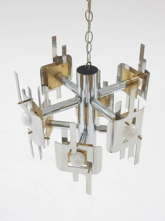 Mid-Century Modern 1970s Gaetano Sciolari Sculptura Chrome and Brass Chandelier Lamp For Sale