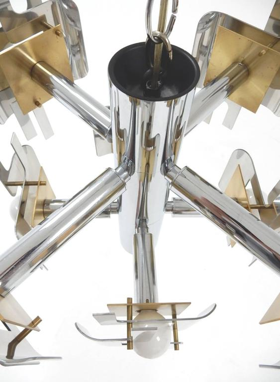 Late 20th Century 1970s Gaetano Sciolari Sculptura Chrome and Brass Chandelier Lamp For Sale