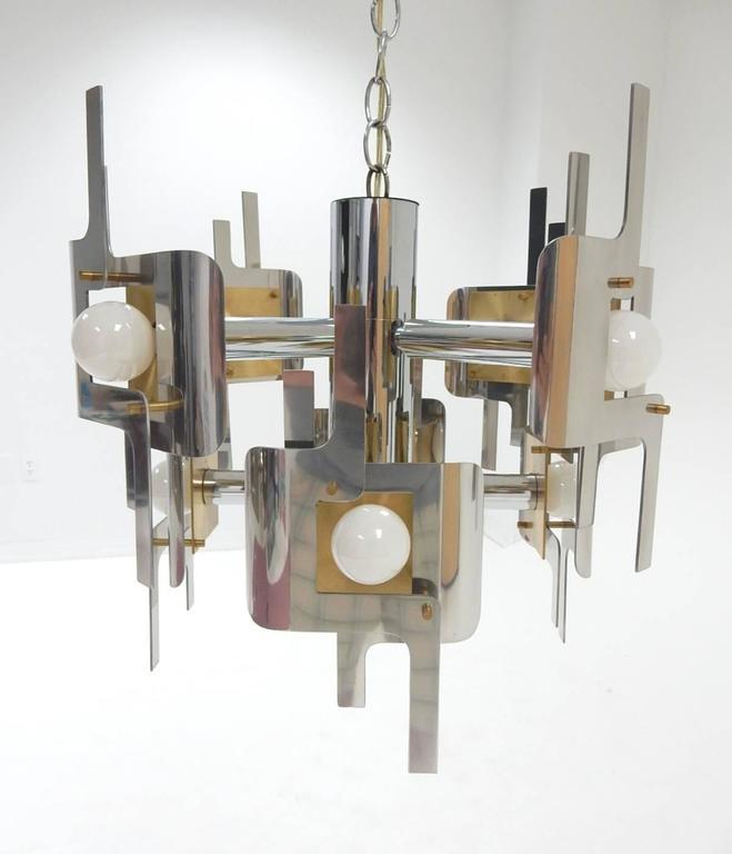 Aluminum 1970s Gaetano Sciolari Sculptura Chrome and Brass Chandelier Lamp For Sale