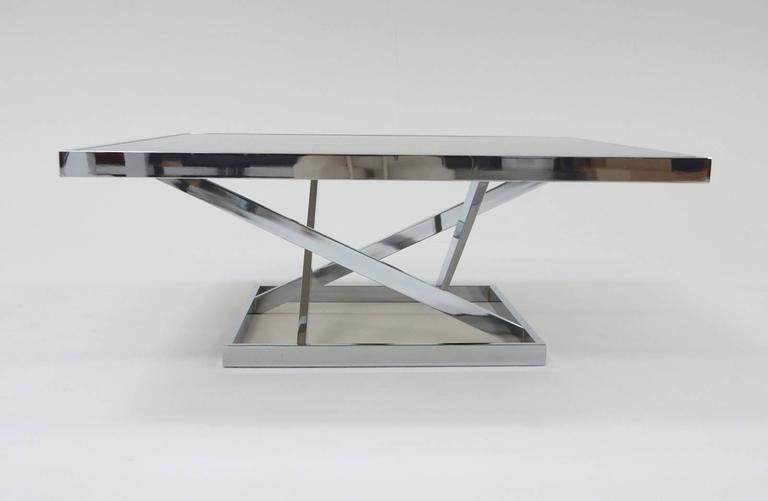 Mid-Century Modern 1970s Architectural Chrome Coffee Table in the stule of Milo Baughman by DIA For Sale