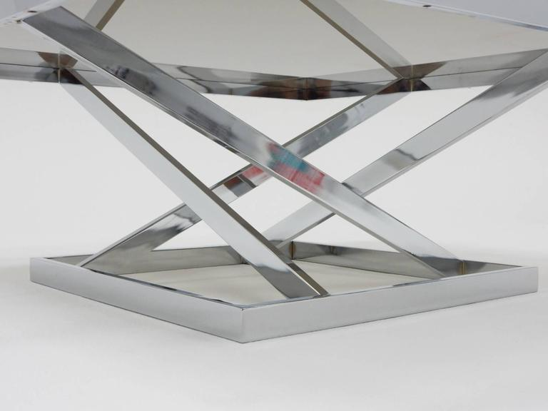 1970s Architectural Chrome Coffee Table in the stule of Milo Baughman by DIA In Excellent Condition For Sale In Las Vegas, NV