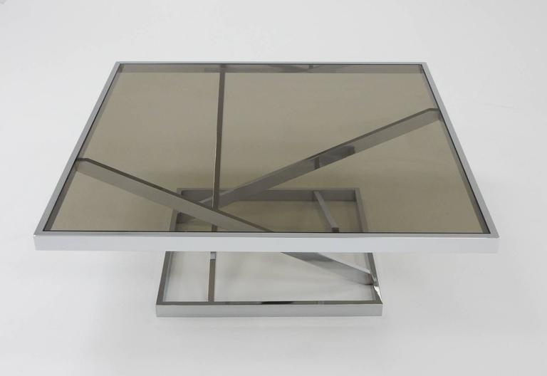 Late 20th Century 1970s Architectural Chrome Coffee Table in the stule of Milo Baughman by DIA For Sale