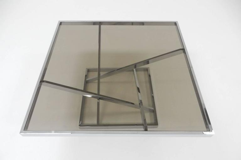 1970s Architectural Chrome Coffee Table in the stule of Milo Baughman by DIA For Sale 1