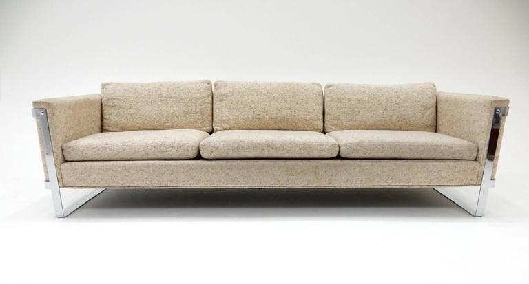 1970s Milo Baughman Chrome Sofa 5