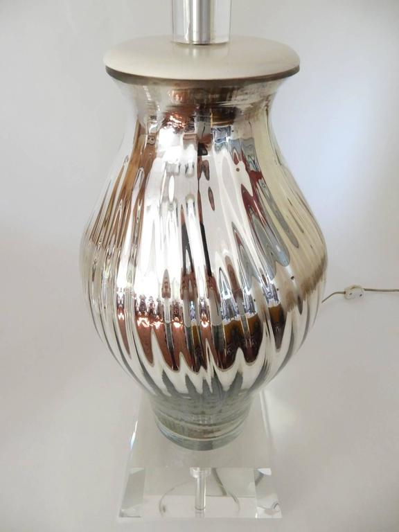 Pair Of Swirl Mercury Glass Vase And Lucite Lamp 1950s