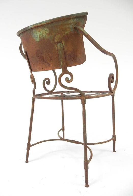French Art Nouveau Sculptural Iron Garden Patio Chairs For