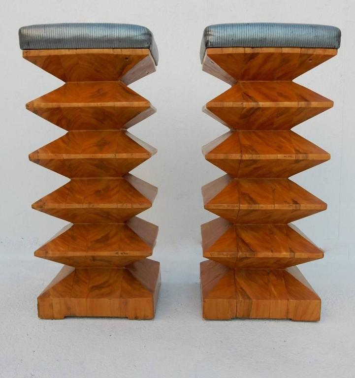 Pair Of Sculpted Art Burl Wood Zig Zag Bar Stools Circa