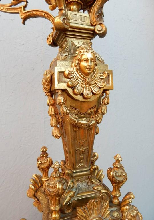 Victorian Era French Gilded Bronze Electrified Candelabra
