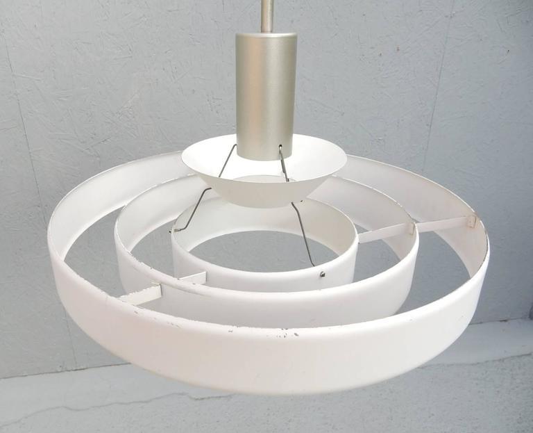1950s Kurt Versen Saturn Ring UFO Pendant Lamp In Good Condition For Sale In Las Vegas, NV