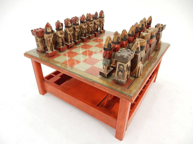 Merveilleux Bohemian 1950s Italian Large Sculpture Chess Set And Game Coffee Table For  Sale