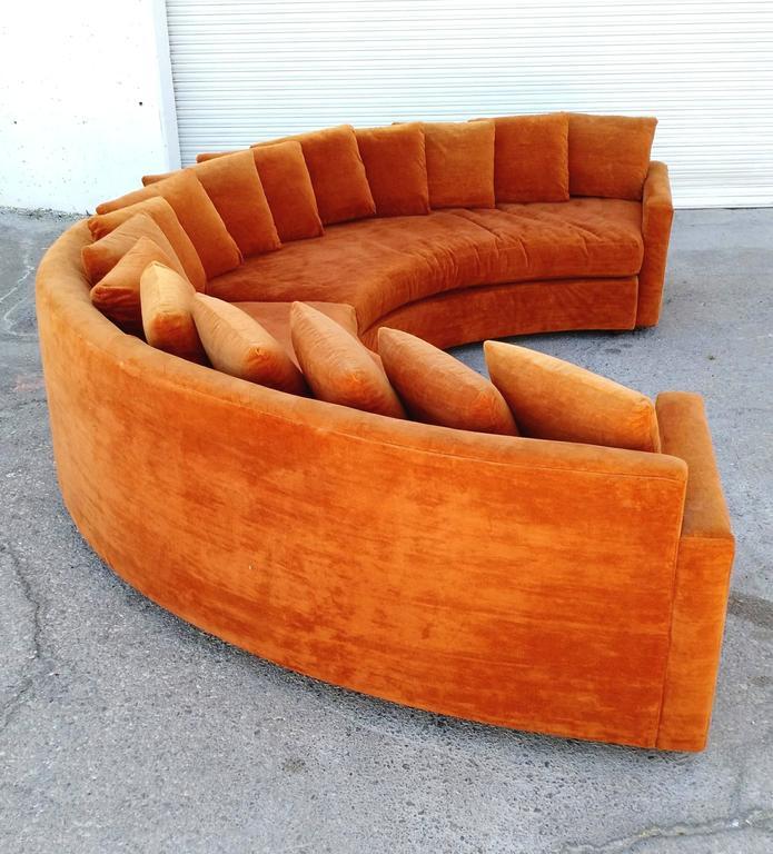 Orange Mid Century Sofa: Mid-Century Modern Orange Velvet Semi Circle Sofa At 1stdibs