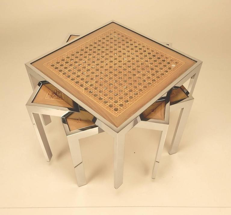 Three Mid-Century Chrome and Rattan Cane Tables by Milo Baughman In Good Condition For Sale In Las Vegas, NV