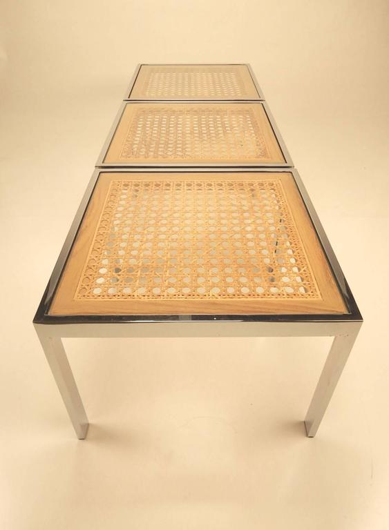 Mid-20th Century Three Mid-Century Chrome and Rattan Cane Tables by Milo Baughman For Sale