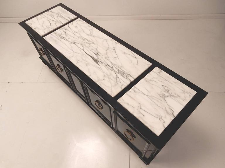 Hollywood Regency Black Lacquer and Italian Marble Low Cabinet Dorothy Draper, circa 1960 For Sale
