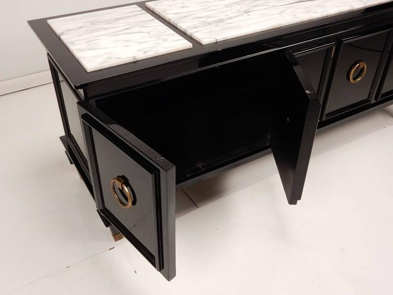 Wood Black Lacquer and Italian Marble Low Cabinet Dorothy Draper, circa 1960 For Sale