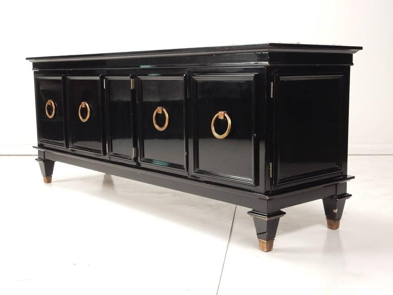 Black Lacquer and Italian Marble Low Cabinet Dorothy Draper, circa 1960 For Sale 1
