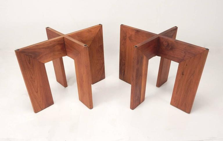 Mid-Century Adrian Pearsall Black Slate and Walnut Side Tables For Sale 1