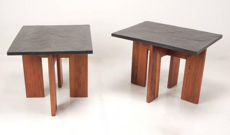 Mid-Century Adrian Pearsall Black Slate and Walnut Side Tables For Sale 2