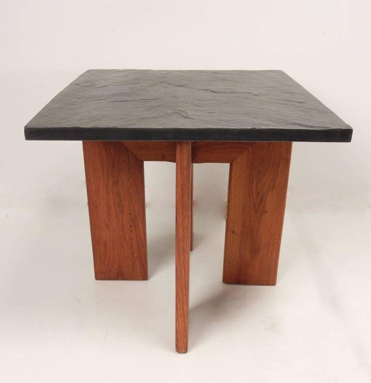 Mid-Century Adrian Pearsall Black Slate and Walnut Side Tables In Good Condition For Sale In Las Vegas, NV