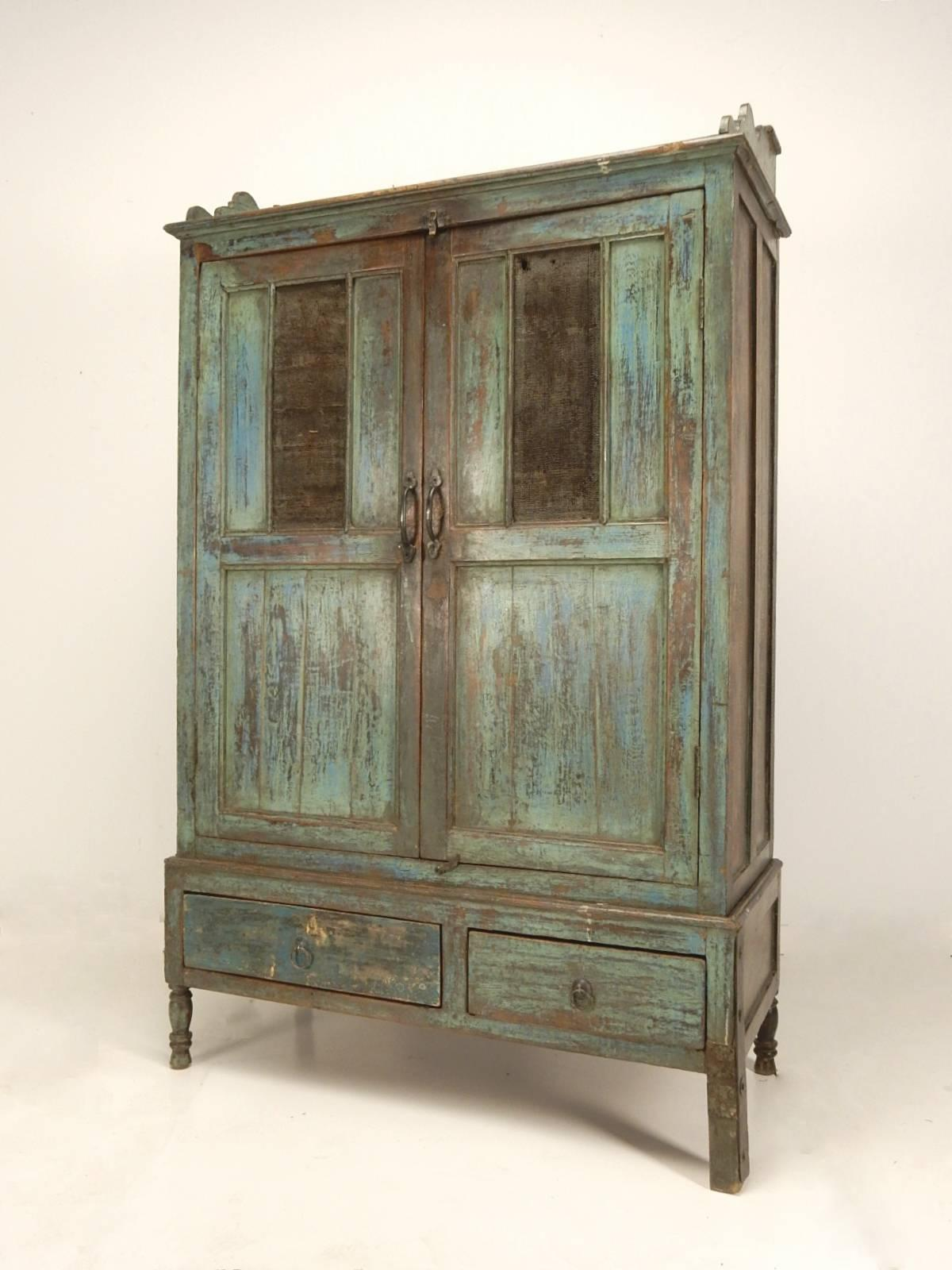 Primitive Painted Pie Safe Cabinet, Circa 1890s. Striking Multi Layer Paint  On Face.